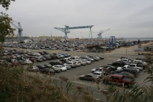Newport News Shipyard, with the James River in the background