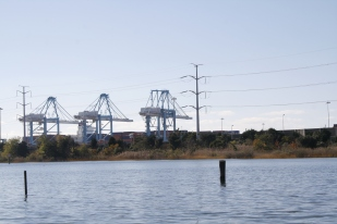 The Lafayette River and cranes at the container terminal