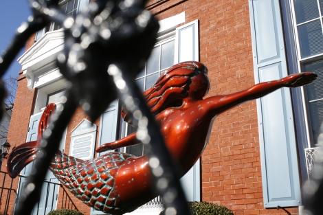 Mermaid sculpture on Freemason Street, at Yarmouth, in the downtown Freemason District.